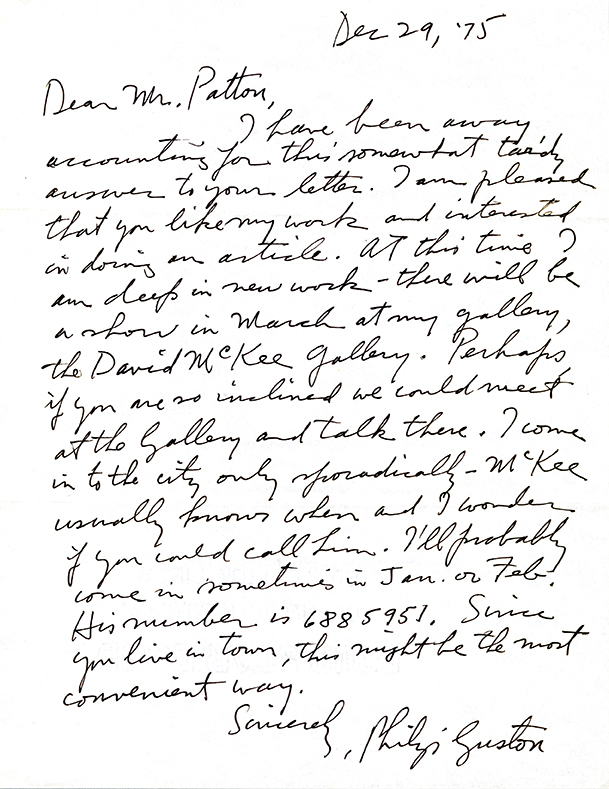 Letter to Phil Patton from Philip Guston