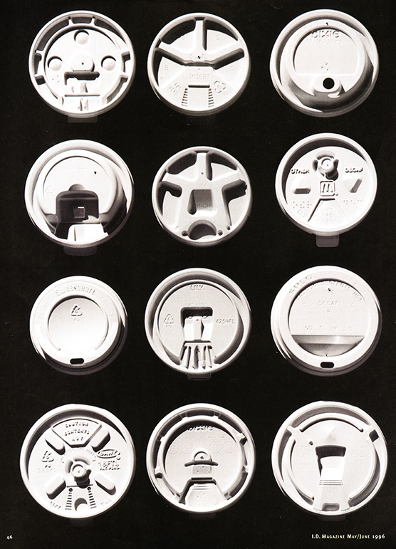 Twelve different coffee cup lids