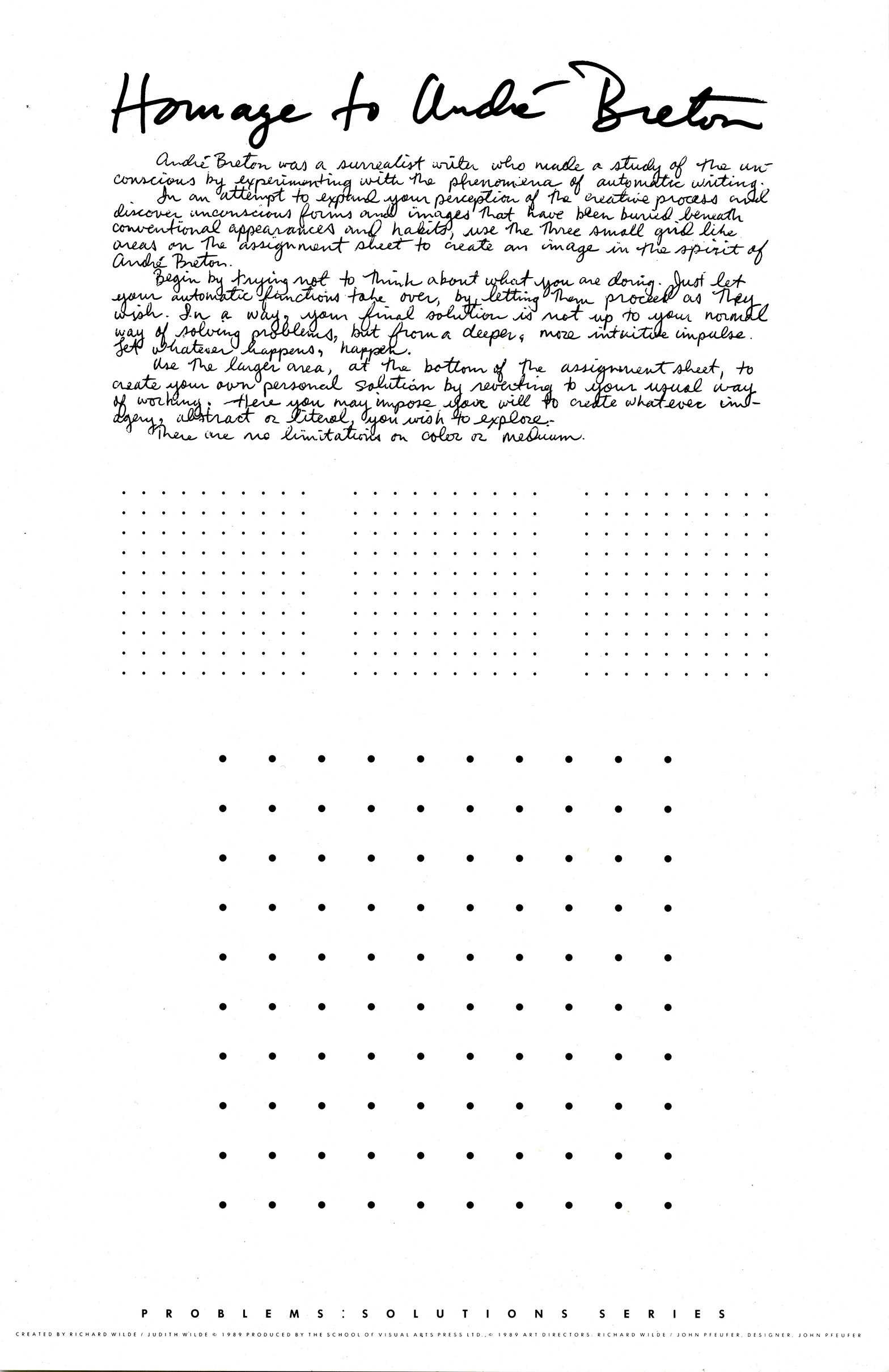 Homage to Andre Breton poster with explanatory text and dots forming three squares. Students are asked to use the dot grids to create image in the spirit of Breton.