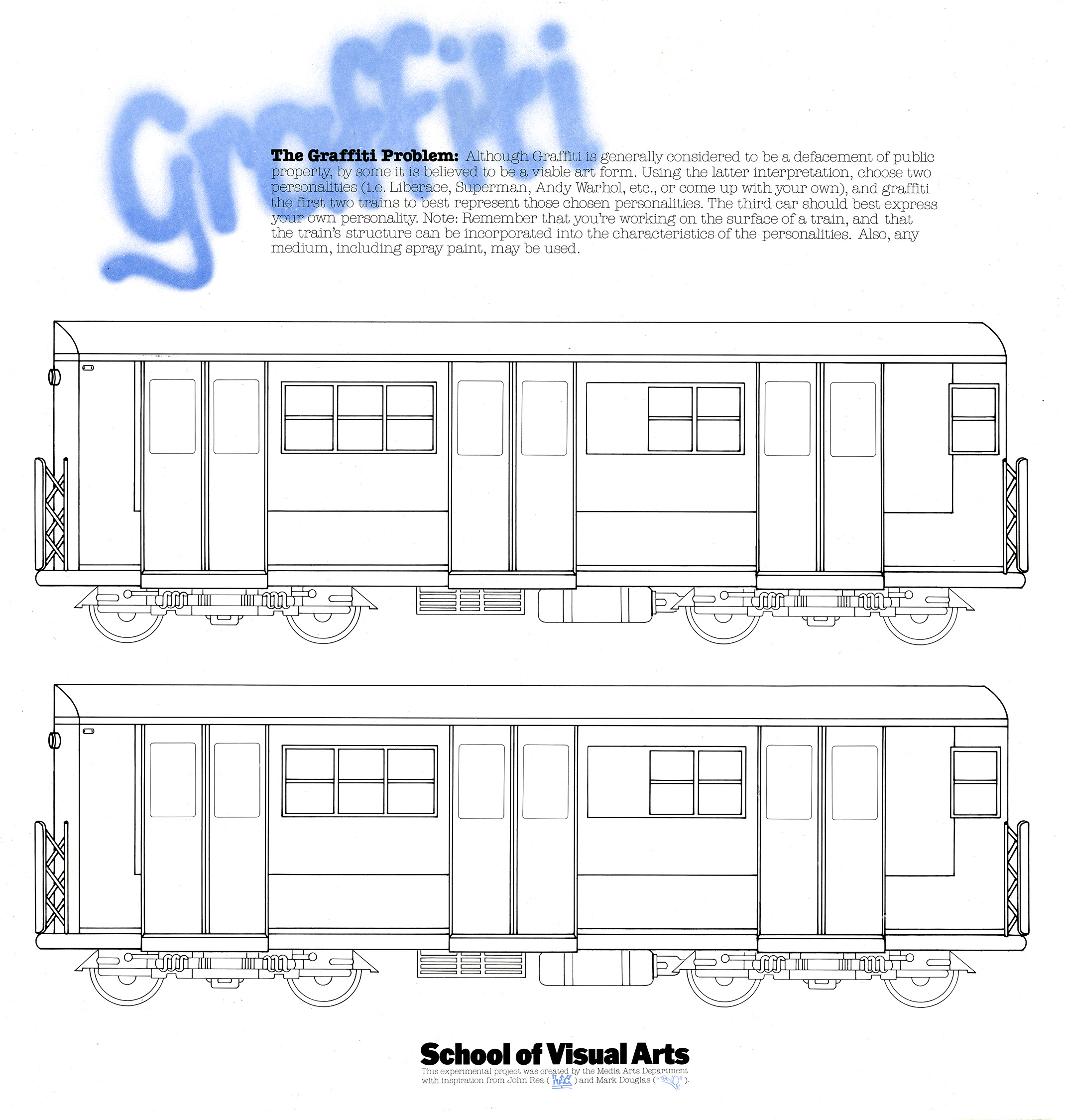 Illustration of two blank trains inviting students to draw on them.