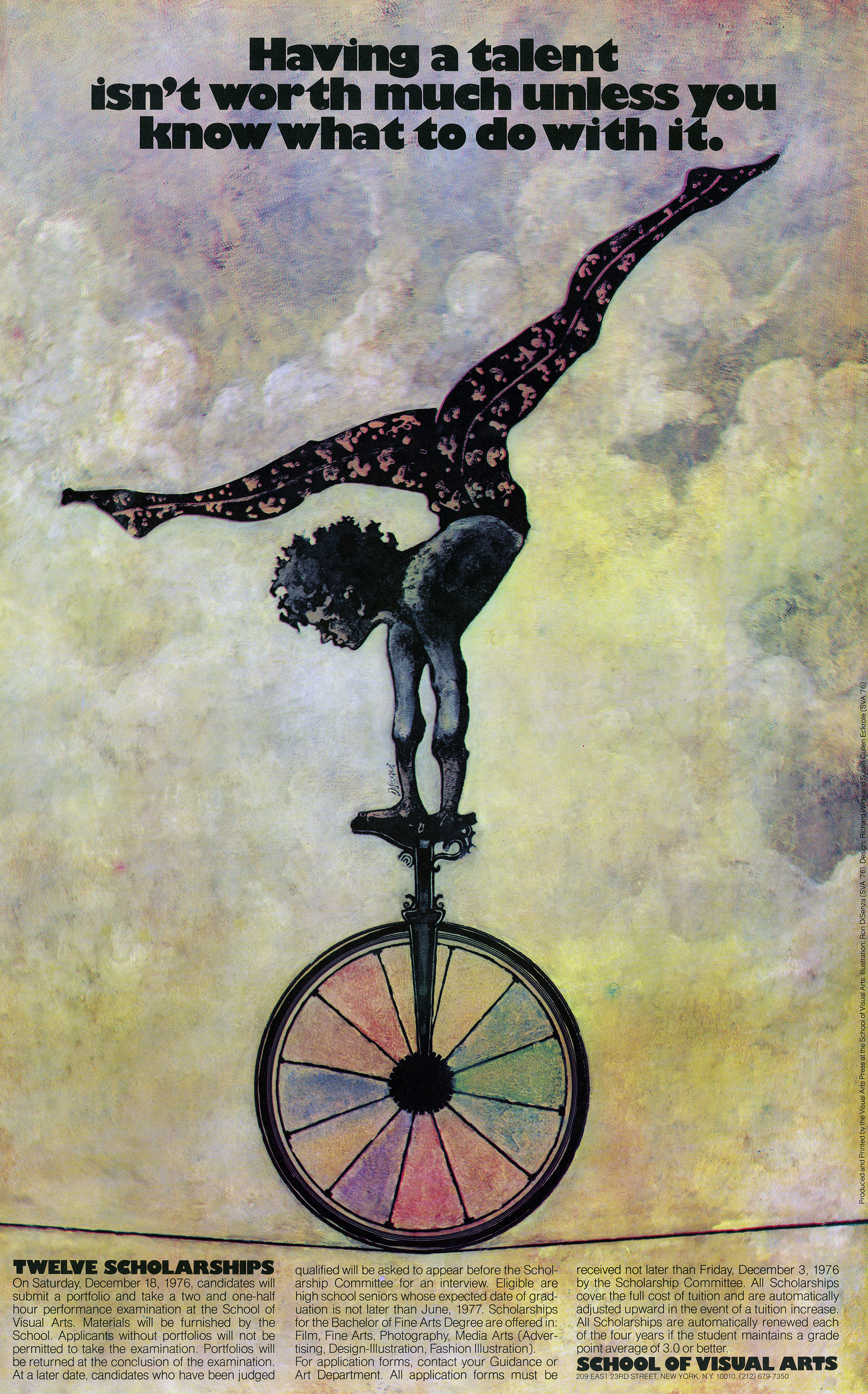 "Curly haired acrobat doing a handstand on a unicycle. Text reads ""having a talent isn't worth much unless you know what to do with it."""