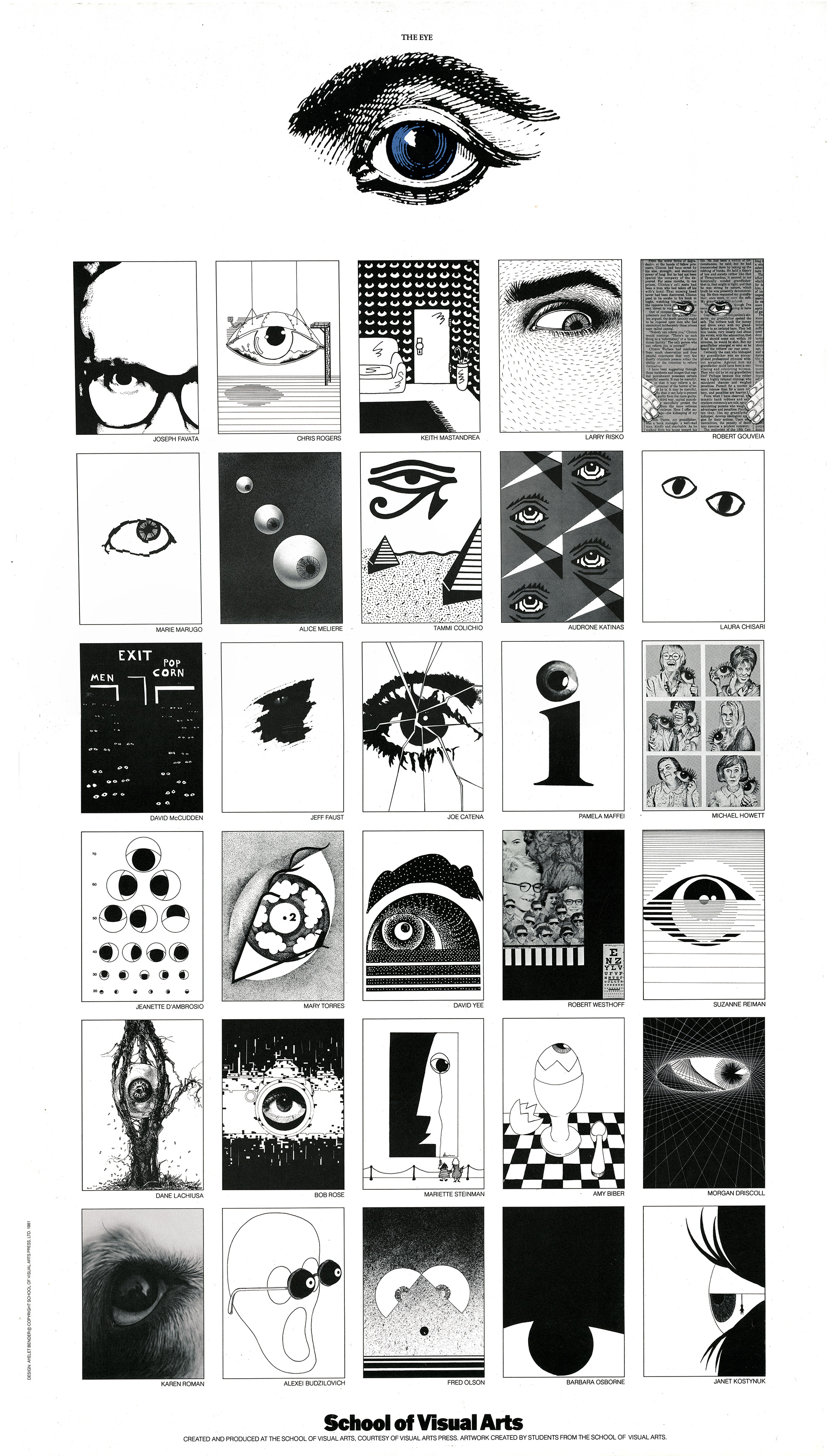 Grid of illustrations of human eyes.