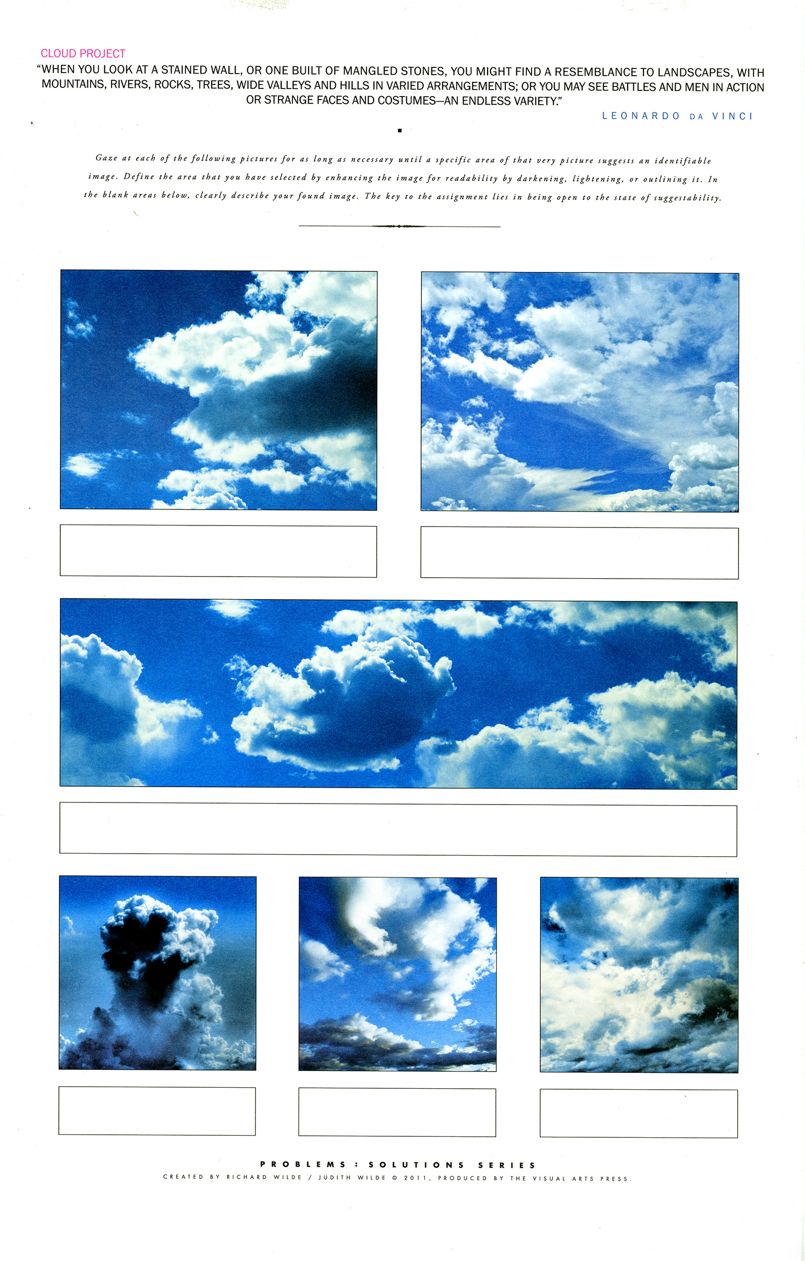 Six cloud images and boxes to draw identifiable images.