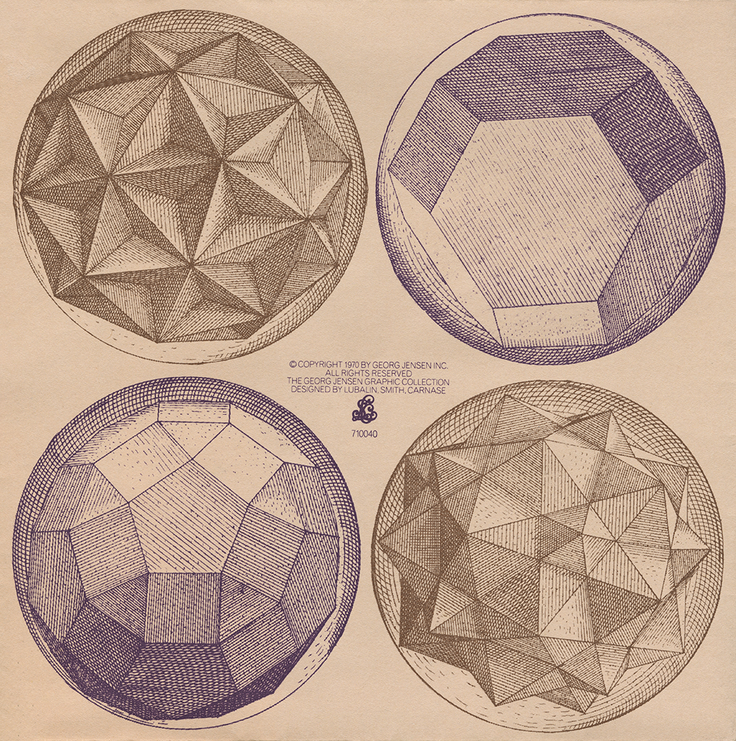 Four engravings of different circular polyhedrons