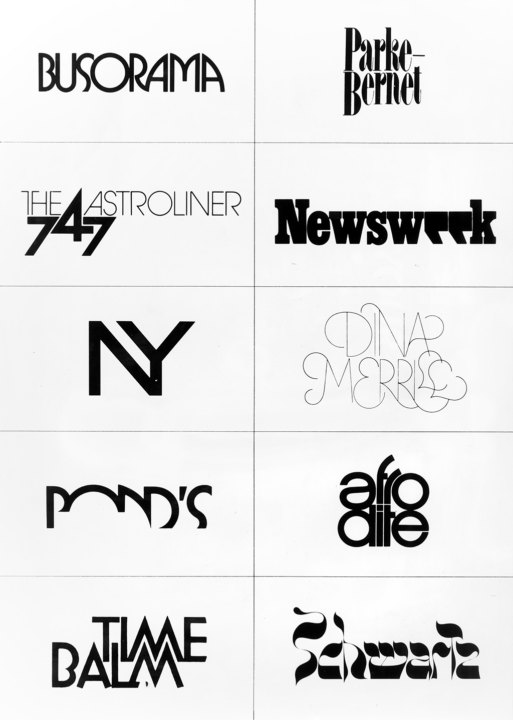 A two by five grid of some of Ferriter's logos