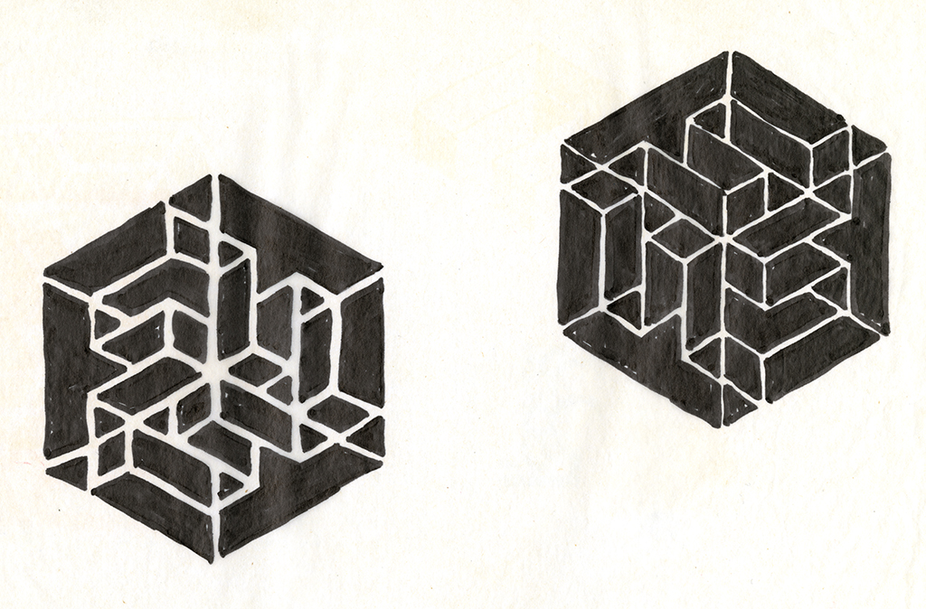 Two sketches of three sides of a cube, each an 'f'-like shapes