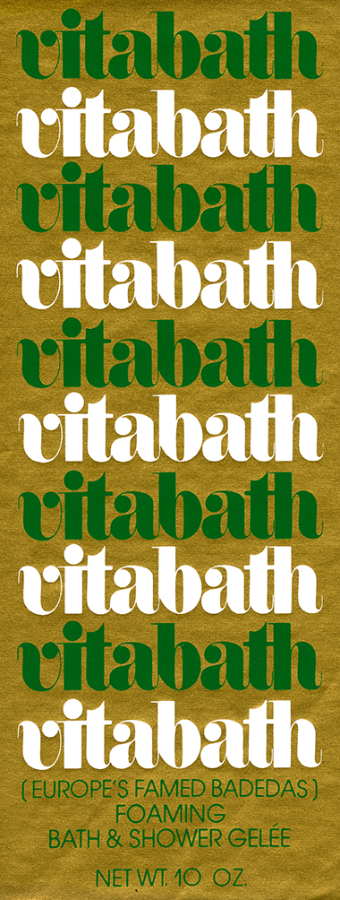 "Gold label with ""vitabath"" repeated in alternating green and white letters"