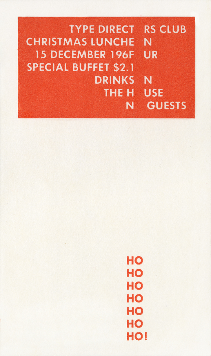 Orange rectangle with luncheon information in white, a vertical line of six 'ho's near the bottom of the card
