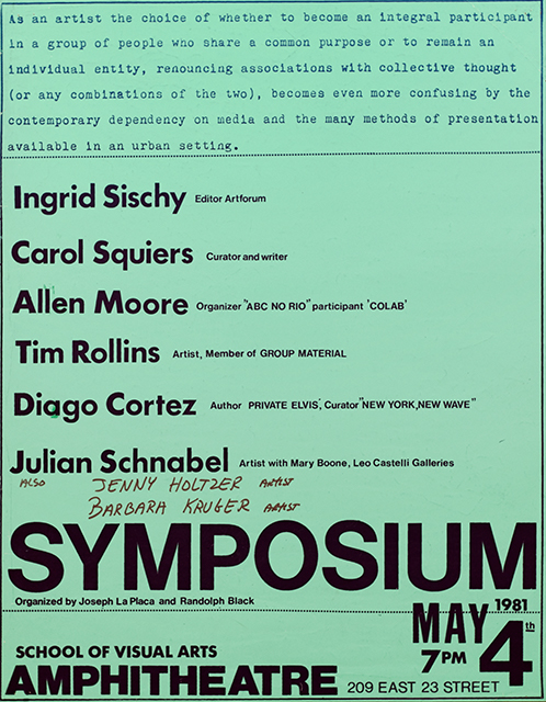 Green paper with event details and artists names listed. The names Jenny Holzer and Barbara Kruger are handwritten below the list of other participants. The names of Holzer, Alan Moore, and Diego Cortez or missepelled