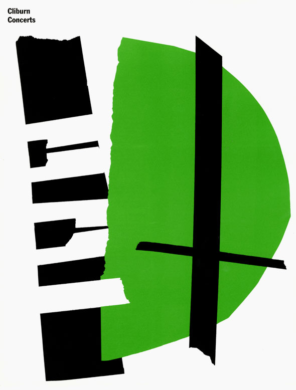 "Graphic design of an abstract piano made with black, white and green paper against a white background. At the top is ""Ninth Van Cliburn International Piano Competition"" in black bold text."
