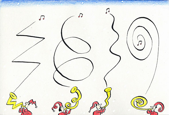 A drawing of four cartoon-like characters blowing trumpets of different design and producing an inked line that mirror the shape of their trumpets. A music note is at the end of each line.