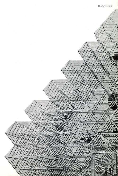 A black and white side view of Gyrotron, a building with geometrical, triangular structure.