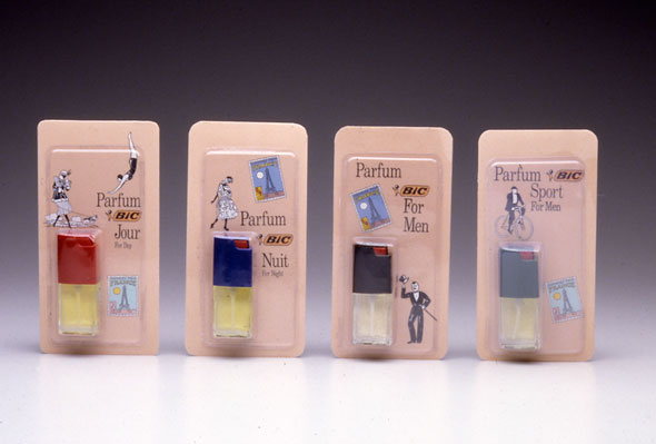 A photo of 4 packages of tiny perfume bottles. All packages has a peach background with the perfume on the bottom right. Each package has small illustrations correspond to the perfume's purpose. For example the perfume for women during the day time, it has black illustration of women doing an activity and a stamp with the Eiffel tower during the day.