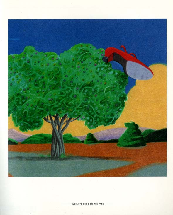 Flat landscape painting with a large green tree with a large red heeled shoe hanging off to the tree's side.