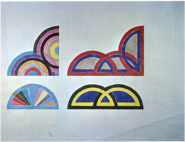 A sketch of several semi-circles on a graphed paper. Three sketches are of semi-circles are being intertwined with one or more semi-crrcle. The 4th is just one semi-circle that is divided inside and is colored with bright colors.