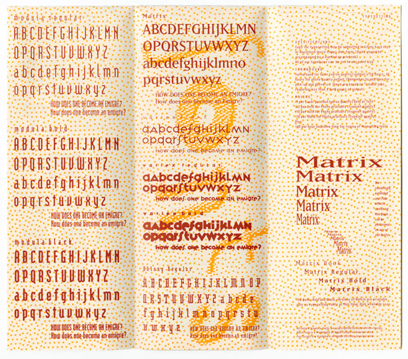 Maroon text against yellow and white dotted background, showing the alphabets of various fonts