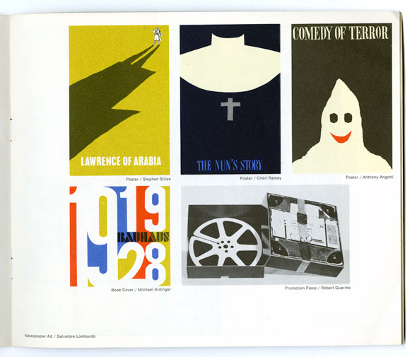 A photo of a page from a booklet that show several graphic designs and a photo. The top 3 graphic designs are posters. They're all minimalistic with flat colors. At the bottom is a graphic design for a book cover, made with the primary colors and big bold white font. Next to it is a black-and-white photo a a electronic box.