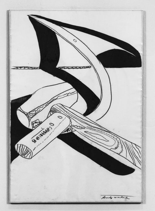 A photo of an artwork. It's a white and black painting of a mallet and a sickle. The mallet is laid on top of the sickle. The drawing has few details and has the objects cast an opaque black shadow.