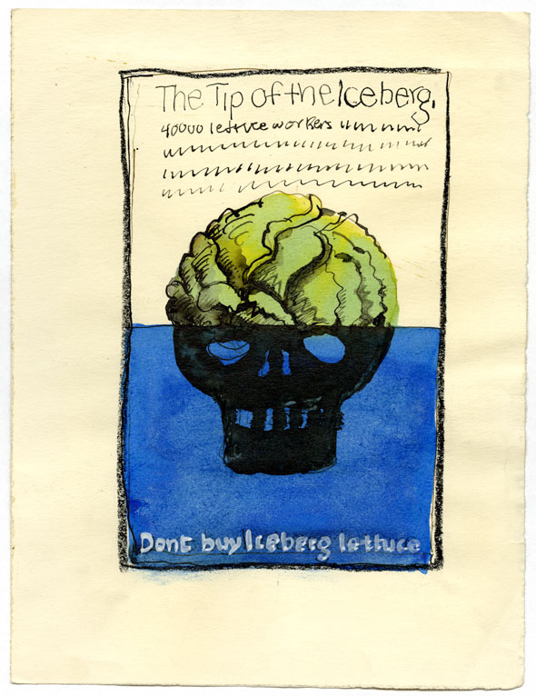 "A sketch of a poster with a black skull that is half submerged in bright blue water. The top half of the skull is a green iceberg lettuce. ""The tip of the iceberg. 40,000 workers..."" written thinly above the skull and ""Don't buy iceberg lettuce"" at the bottom of the poster."