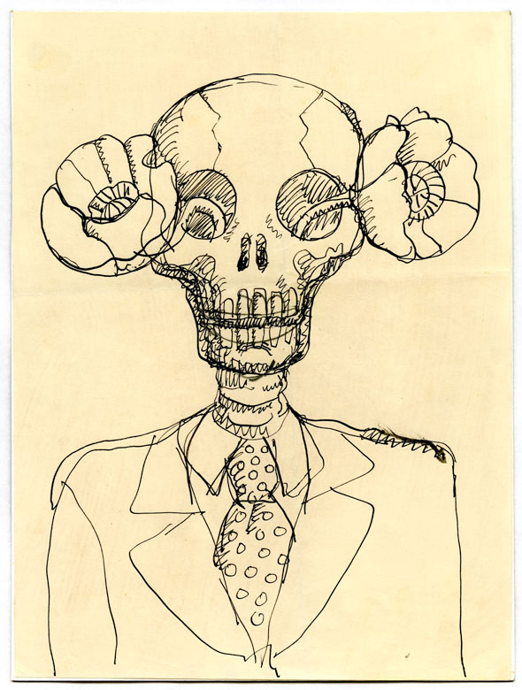 An ink sketch on paper of a skeleton in a suite and tie. It has a poppy growing out of both eye sockets.
