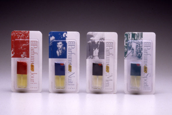 A photo of 4 packages of tiny perfume bottles. All packages has a white background with the perfume on the bottom right. Each package has small photo correspond to the perfume's purpose. For women is a crowd of women, for night is a woman in a club, for men it's sailor, for sport it's a bike race.