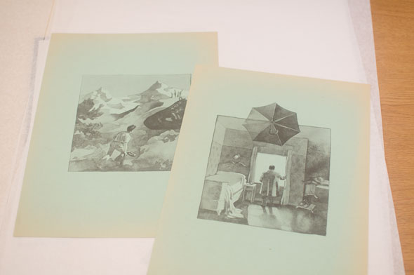 A photo of 2 monochrome watercolor illustrations. On the left, is a drawing of a boy looking at the mountains in front of him. One the right, is a boy looking out a window of a small simple bedroom. Above the boy an umbrella floats, going over the drawing's frame.