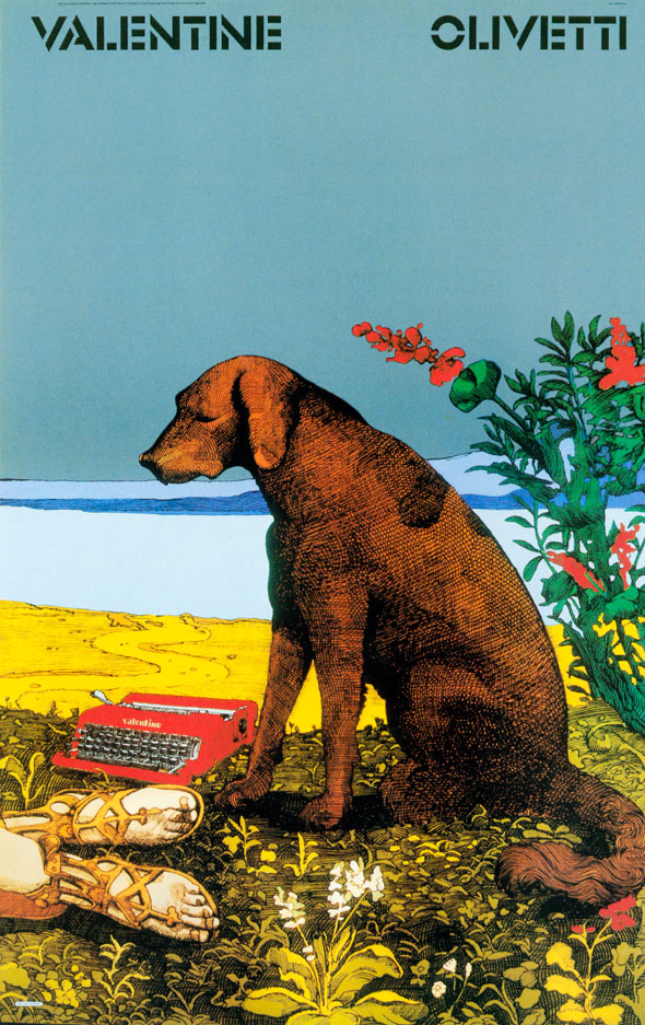 Detailed color illustration of a brown dog on a lush patch of meadow overlooking a beach; red flowers, a red typewriter, and human feet with gold sandals are visible.