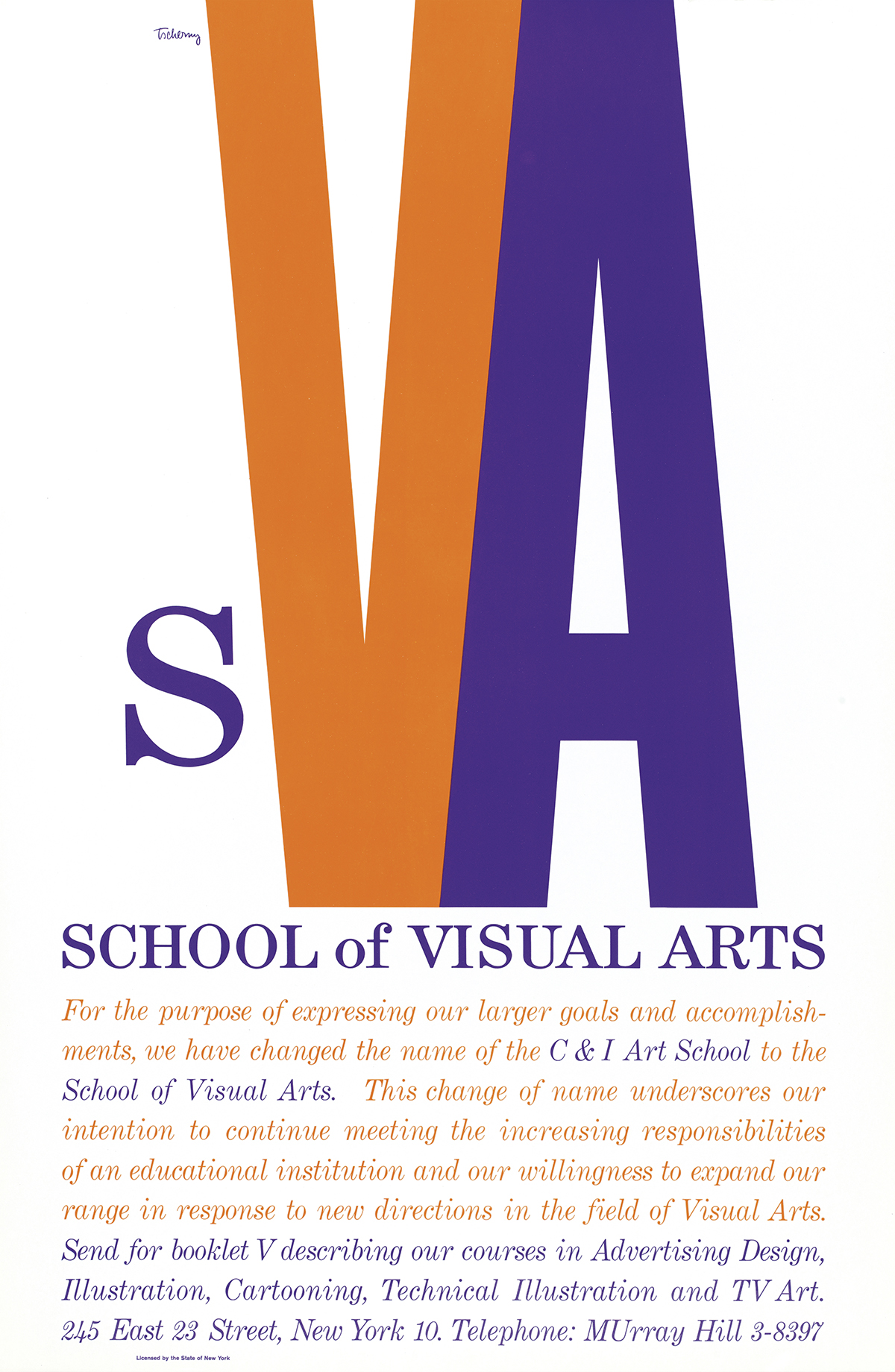 "Poster for School of Visual Arts announcing name change, with small purple ""s"" and large orange ""V"" and large purple ""A"""