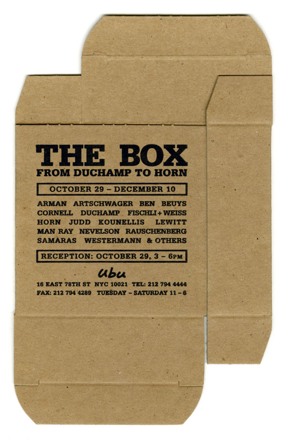 "A photo of Unfolded brown box with block black text. The text is information o an event titled ""The box"" in big bolded letter, followed by information of the event."