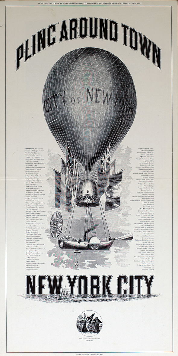 Promotional poster for Photo-Lettering Inc. depicting steam boat carried by a hot air balloon.