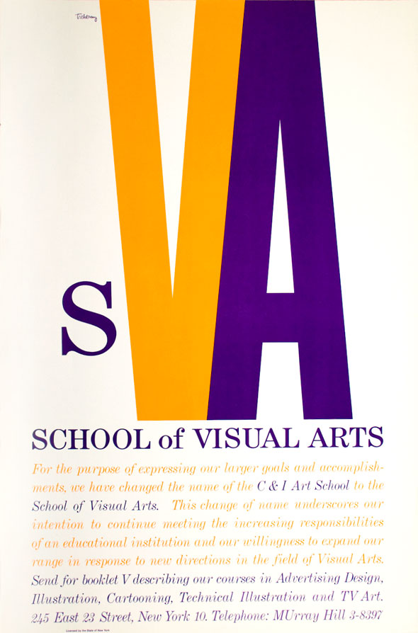 Orange and purple text against white background; header is the letters SVA, with the VA elongated to the top of the page