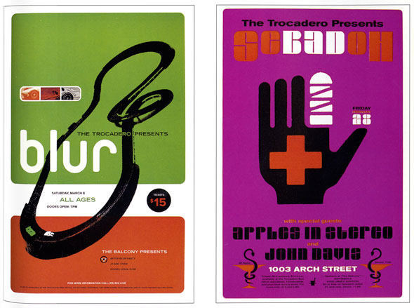 "Two posters for ""Blur"". The left poster has 3 horizontal stripes; green, white, and red as the background.  A silhouette of a high way that twists and loops is in the middle. There are one green and one white car in the foreground. On the top left of the highway is a small rectangle with 3 different images of a car. Underneath it is "" Blur"" is big white letters. On the right poster it was a violet background a simple illustration of a black hand with a bandage wrapped around its index is in the middle. ""Secadoh"" is above it."