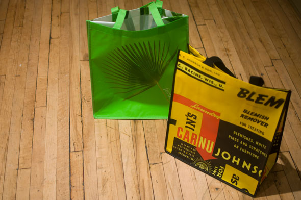 A photo of Two reuseable shopping bags on the floor; one is green with a dark green palm leaf on it, the other yellow and black with dense text and a red arrow.