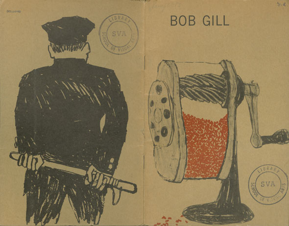 Illustrations for a mailer; left side is the back of a policeman holding a billy club; right side is a pencil sharpener full of red shavings