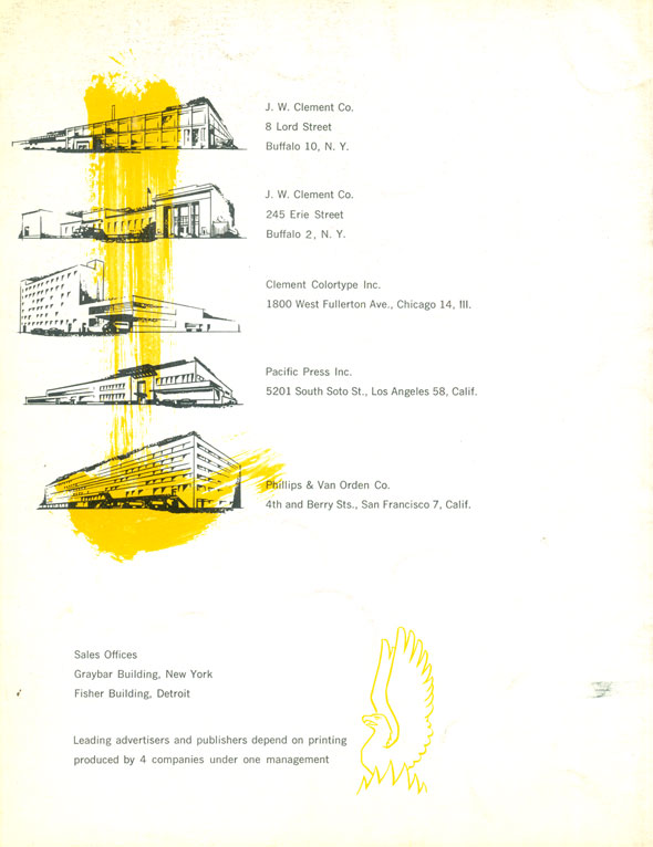 "Line-drawings of headquarters of ""the four nationally located printing companies."" Black and yellow against white background"