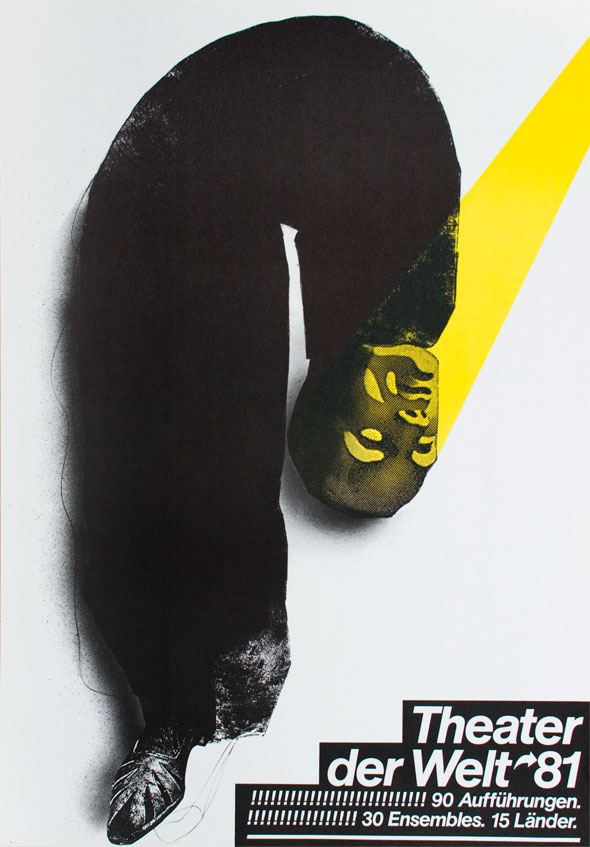 Black and yellow illustration of a u-shaped tube, one end with a human head and the other with a shoe