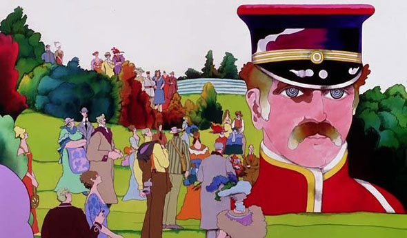 "A frame still from the film ""Yellow Submarine"". The background is a watercolor illustration of a green valley adorned with fluffly green bushes. On the middle right is a huge man from the shoulders up. He has a cherry red old fashion captain uniform. huddled around him and throughout the valley are people with fancy dress wear looking at him."