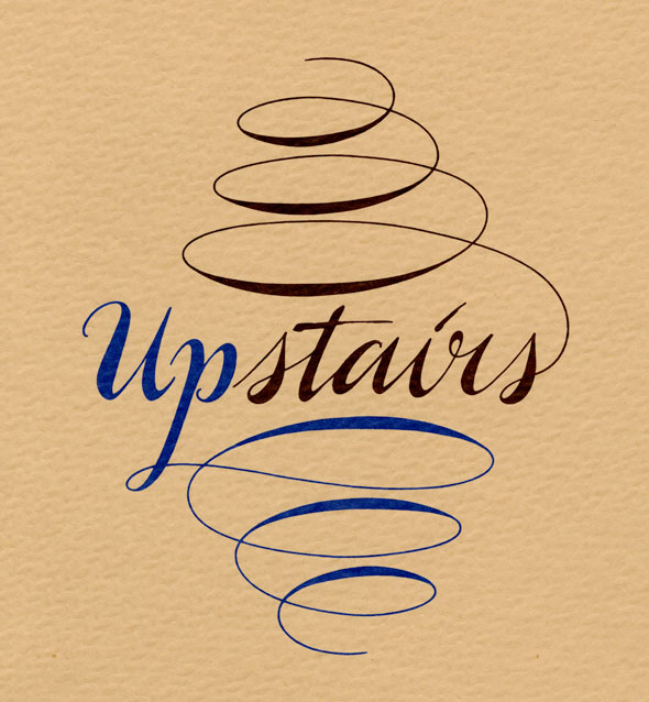 "A biege menu. The paper has a rough texture. In in the middle ""Upstairs"" is printed in script lettering. ""Up"" an ""Stairs"" are not connected as a one word. The ""Up"" in upstairs is a bright blue and the ""Stairs"" is a dark brown"". The scripted ""P"" in ""Up"" continues it's cursive line downward in a spiral like line, it looks like a small wide tornado. The last ""S"" in ""Stairs"" continues it's cursive line upwards in a spiral like line, it looks like a upside down small wide tornado."