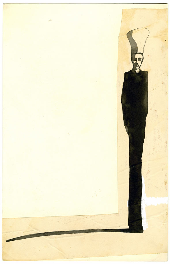 An illustration of Black ink against cream paper of a tall skinny man in a chef's hat with a long shadow