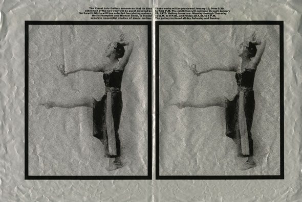 A black and white image with two frames of a woman mid-dancing.
