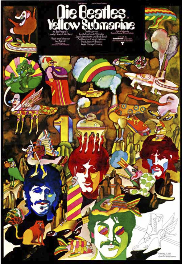 "A poster for ""Die Beatles. Yellow Submarine"". The water color/ink illustration is a clutter of charters and props used in the film. Each of the band member's head float around, each a different color. The colors in the illustration is bright, the only dark colors are the warm brown used for the mountains and rocks and black used for the few opaque shadow it has."