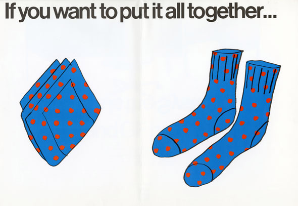 "Spread of a blue pair of socks and blue handkerchief, both with red dots against a white background. Header text reads ""If you want to put it all together..."""