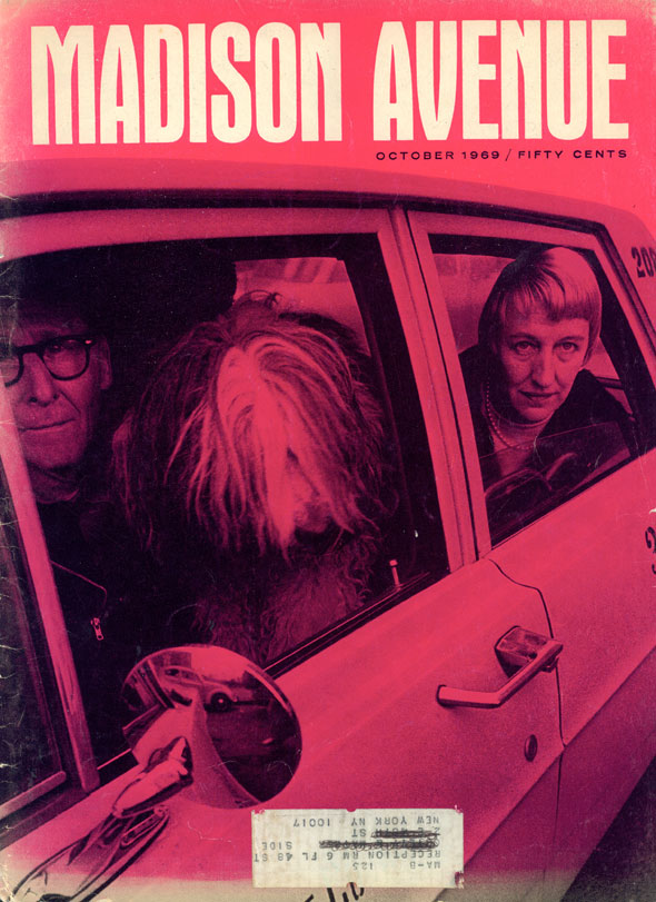 Trahey/Wolf media director Sandy Kiersky through a car window on the bright pink cover of 'Madison Avenue'