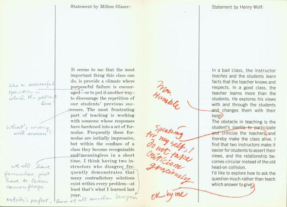 Columns of text (statements by Milton Glaser and Henry Wolf) with handwriting on top