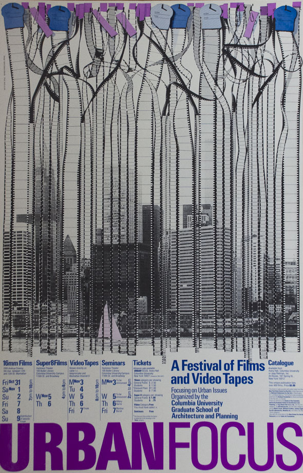 A poster of film negatives hanging vertically, exposing an image of a city across a river. Film negatives are entangled on top and is attached with purple tags and blue clock tags.