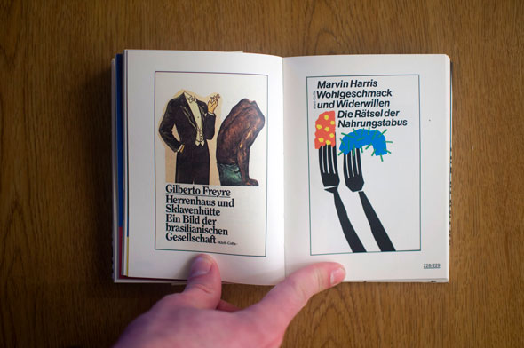 Flipbook opened to show a spread depicting two posters, left with two headless men, right with two forks