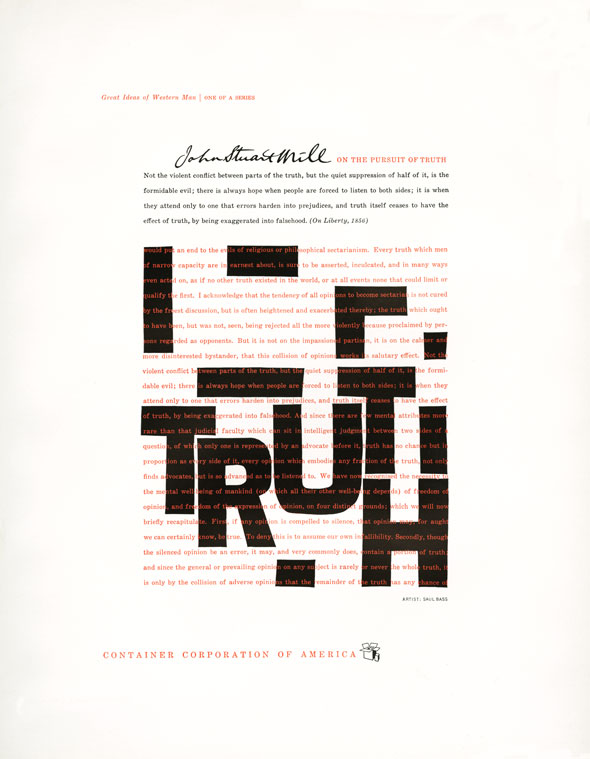 Underneath a wall of red text against a white background, the word TRUTH spelled out in black block letters along with other geometric shapes.