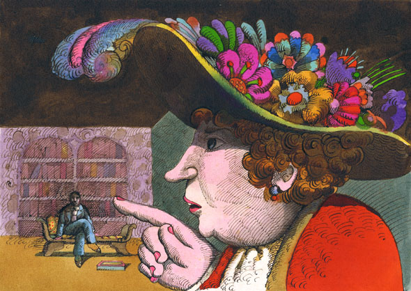A 70's illustration of a giant woman with a fancy hat that is covered in feathers and flower. She is scolding a tiny man with her finger. The man is sitting on a cushion bench.