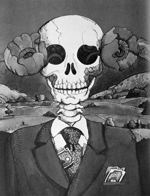 An ink illustration of a skeleton in a suite and tie. Poppies growing out of both of it's eye socket and money popping out of its suite and pocket. Behind the skeleton is an empty field and mountains.