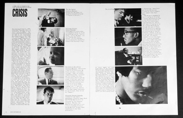 A scan of a magazine spread. CRISIS is printed on the top left corner in bold black text. Below the title is the article in vey small text. Next to the article is a row of 5 images in the same size, they're roughly in the middle of the left page. On the right page a row of 3 images are in the middle of the page. Below is a bigger image than the rest.